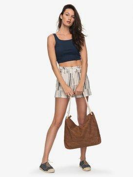 San Salvador Stripy - Linen Shorts for Women  ERJNS03149