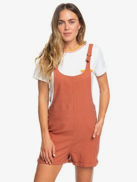 Follow The Hills - Linen Dungaree Playsuit for Women  ERJWD03356