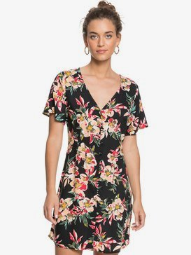 Damage Love - Short Sleeve Buttoned Dress for Women  ERJWD03485