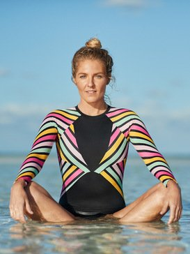 POP Surf - Long Sleeve Back Zip One-Piece Rashguard for Women  ERJWR03318