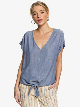 Born To Try - Short Sleeve Tie-Front Crepe Top for Women  ERJWT03380
