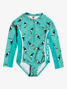 ROXY Birds - Long Sleeve Front Zip One-Piece Rashguard for Girls 2-7  ERLWR03126