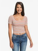 Hey U Rock - Short Sleeve Cropped Ribbed Top for Women  ERJKT03593