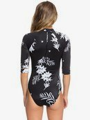 ROXY Fitness - 3/4 Sleeve Back Zip One-Piece Rashguard for Women  ERJWR03322