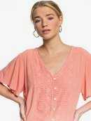 Hanging Moon - Cropped Buttoned V-Neck Top for Women  ERJWT03382