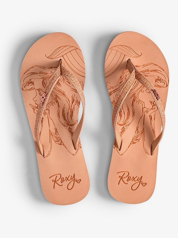 0 Girl's 7-14 Napili Flip-Flops Brown ARGL100233 Roxy