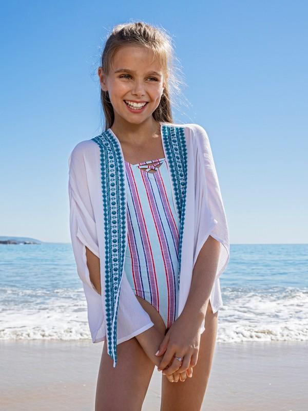 0 Girl's 7-14 Ariel Desert Oasis Short Sleeve Kimono White ARGWT03020 Roxy