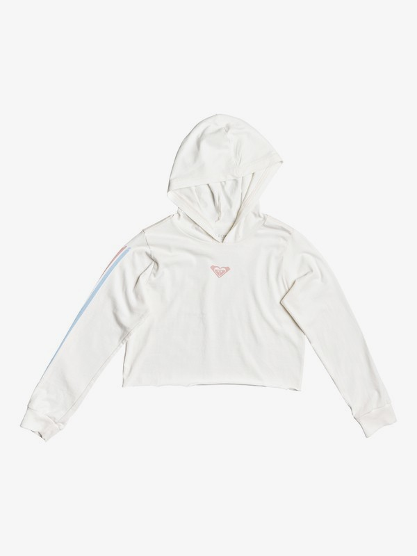 0 Girls' 8-16 As Happy As The Ocean Cropped Long Sleeve Hooded Top White ARGZT03402 Roxy