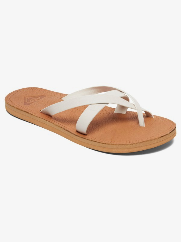 0 Gemma Leather Sandals White ARJL200690 Roxy