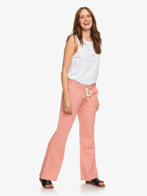 0 Oceanside Flared Linen Pants for Women Pink ARJNP03006 Roxy