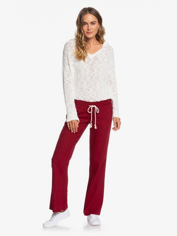 0 Oceanside Flared Linen Pants for Women Red ARJNP03006 Roxy