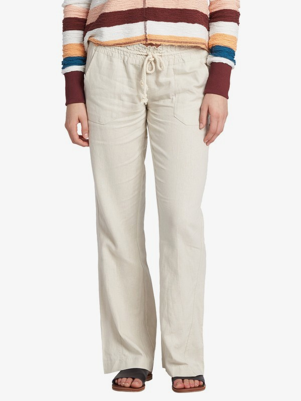 0 Oceanside Flared Linen Pants for Women Grey ARJNP03006 Roxy