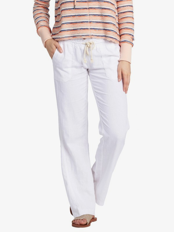 0 Oceanside - Flared Linen Trousers for Women White ARJNP03006 Roxy