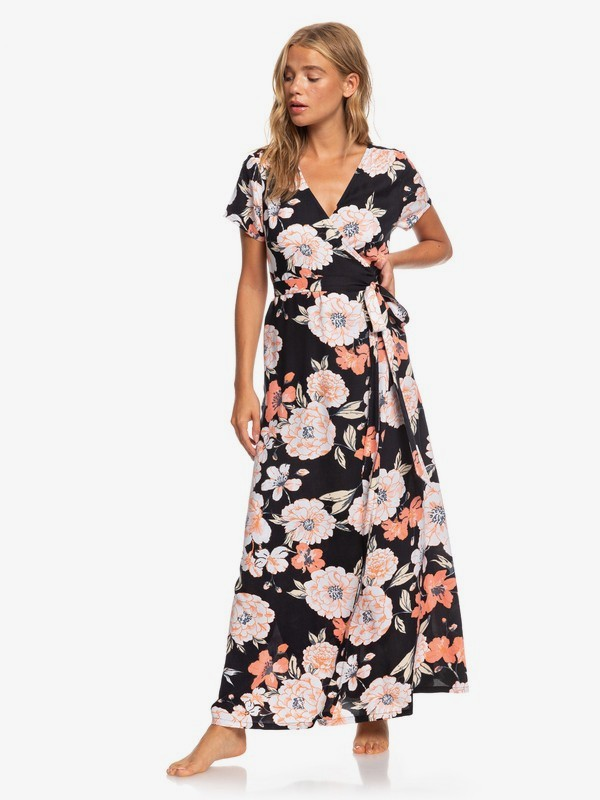 0 District Day Short Sleeve Maxi Dress Black ARJWD03267 Roxy