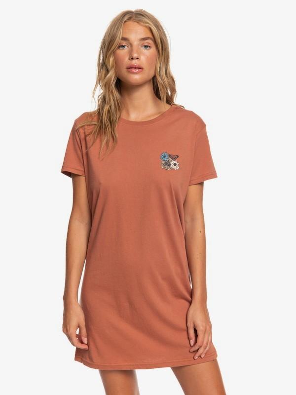 0 ROXY Flowers Short Sleeve T-Shirt Dress Pink ARJZT05465 Roxy
