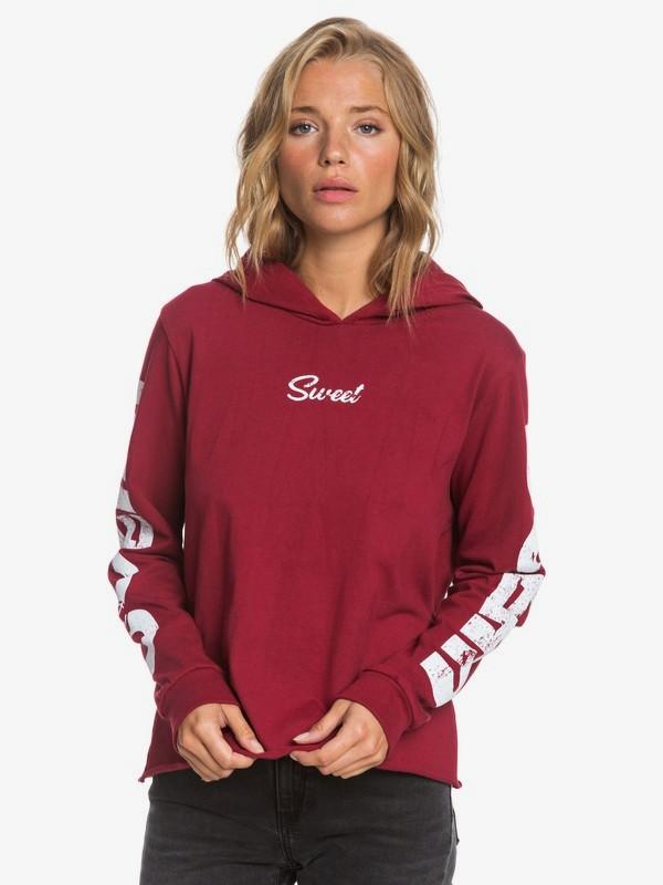 0 Ocean Sweet Ocean Cropped Long Sleeve Hooded Top Red ARJZT05673 Roxy
