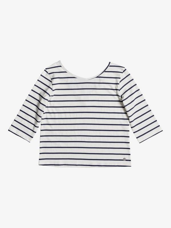 0 Girl's 7-14 Fields Of Heaven Stripes 3/4 Sleeve Top White ERGKT03071 Roxy