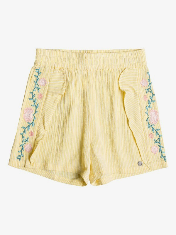 0 Girl's 7-14 River Flows Viscose Shorts Yellow ERGNS03044 Roxy