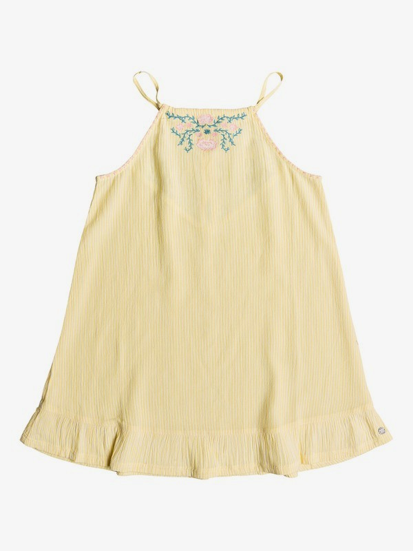 0 Girl's 7-14 First Chocolate Ruffle Hem Strappy Dress Yellow ERGWD03079 Roxy