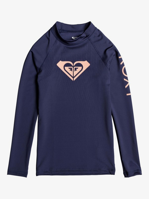 0 Girl's 7-14 Whole Hearted Long Sleeve UPF 50 Rashguard Blue ERGWR03081 Roxy