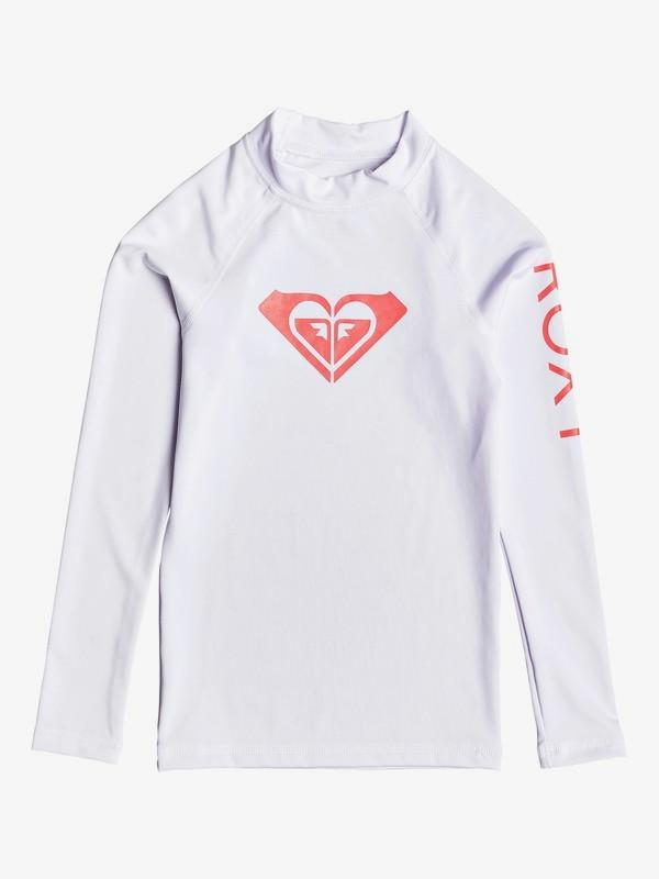 0 Girl's 7-14 Whole Hearted Long Sleeve UPF 50 Rashguard White ERGWR03081 Roxy