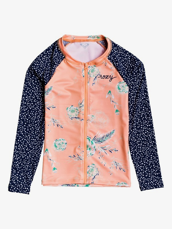 0 Girl's 7-14 ROXY Long Sleeve UPF 50 Zip-Up Rashguard Pink ERGWR03128 Roxy