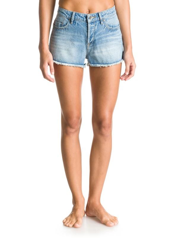 Stripy Eighty Wash High-Waist Denim Shorts ERJDS03050