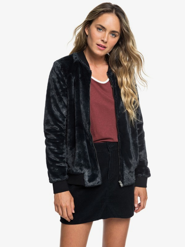 0 Tropical Rain Faux-Fur Bomber Jacket Black ERJFT03872 Roxy