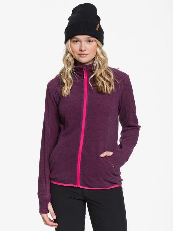 0 Harmony - Zip-Up Mock Neck Fleece for Women Pink ERJFT03963 Roxy