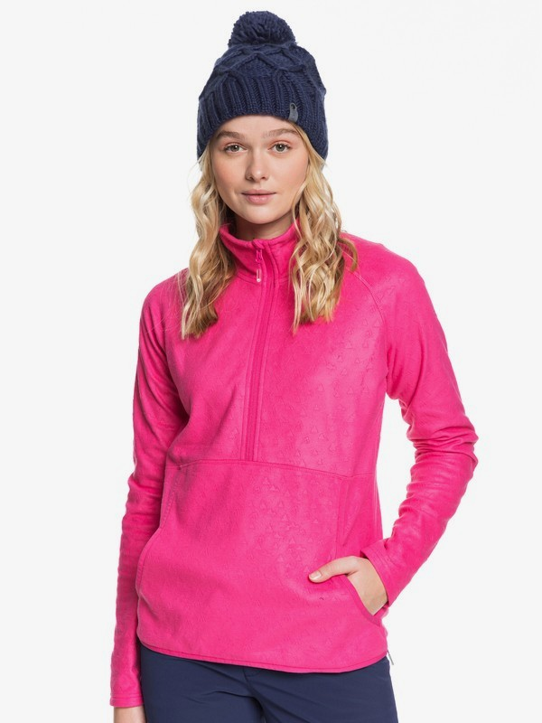 0 Cascade - Technical Zip-Up Fleece for Women Pink ERJFT03964 Roxy