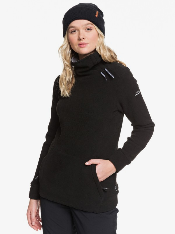 0 Deltine SpinDye® Technical Turtleneck Fleece Black ERJFT04010 Roxy