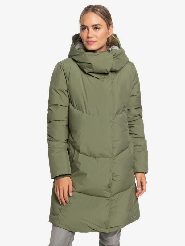 0 Abbie - Chaqueta acolchada impermeable de corte largo para Mujer Verde ERJJK03234 Roxy