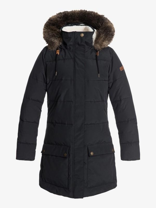 0 Ellie - Chaqueta acolchada impermeable de corte largo con capucha para Mujer Negro ERJJK03239 Roxy