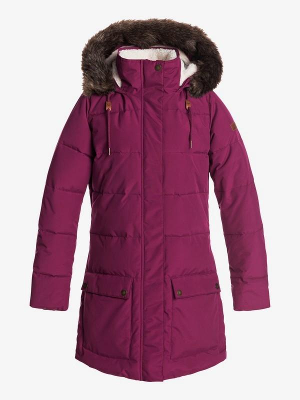 0 Ellie - Chaqueta acolchada impermeable de corte largo con capucha para Mujer Rojo ERJJK03239 Roxy