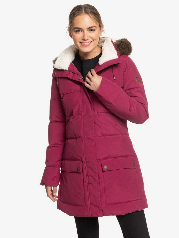 0 Ellie Water Repellent Hooded Longline Puffa Jacket Red ERJJK03239 Roxy
