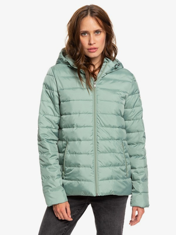 0 Rock Peak - Water Repellent Padded Jacket Green ERJJK03250 Roxy