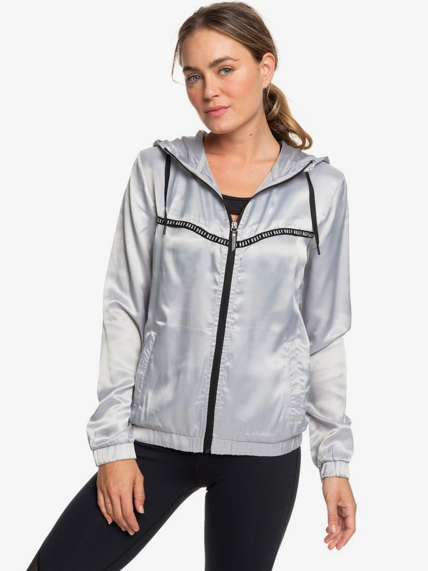 0 Freaky Styley Hooded Running Jacket Grey ERJJK03273 Roxy
