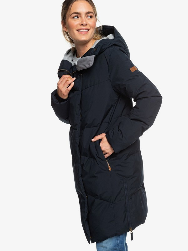 0 Abbie - Waterproof Longline Hooded Puffer Jacket for Women Black ERJJK03282 Roxy
