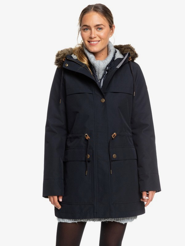 0 Amy 3-in-1 Longline Hooded Waterproof Parka Black ERJJK03283 Roxy