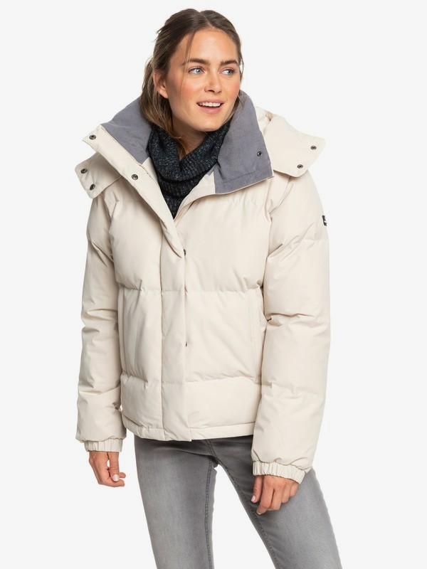 0 Hanna - Waterproof Hooded Puffer Jacket for Women Beige ERJJK03287 Roxy