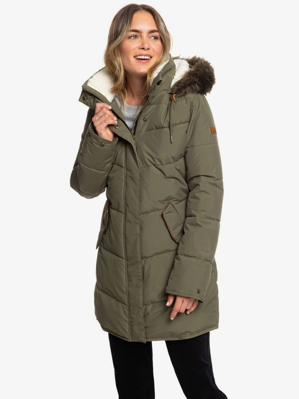 0 Ellie - Longline Hooded Waterproof Puffer Jacket for Women Brown ERJJK03289 Roxy