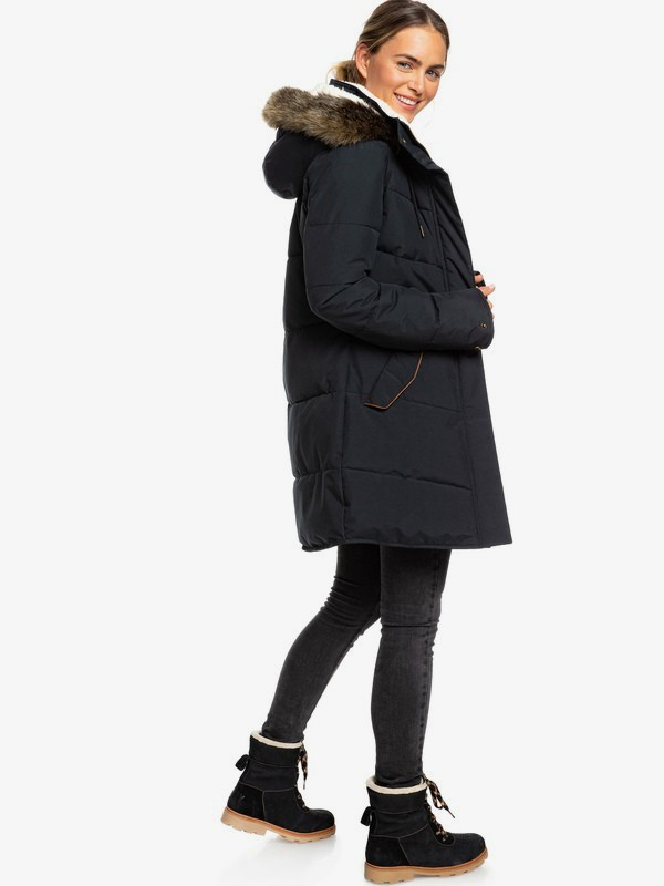 0 Ellie - Longline Hooded Waterproof Puffer Jacket for Women Black ERJJK03289 Roxy
