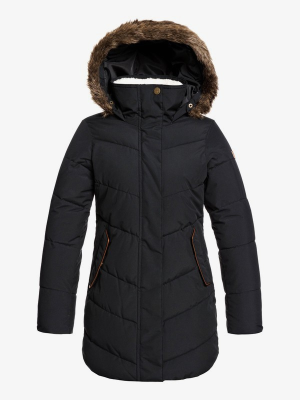 0 Elsie Girl Longline Hooded Waterproof Puffer Jacket Black ERJJK03291 Roxy