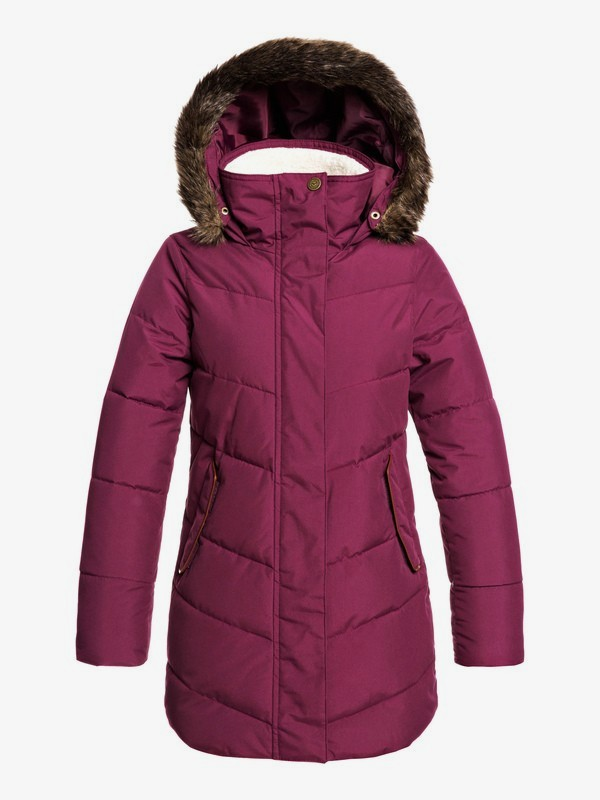 0 Elsie Girl - Doudoune longue imperméable à capuche pour Fille 4-16 Violet ERJJK03291 Roxy