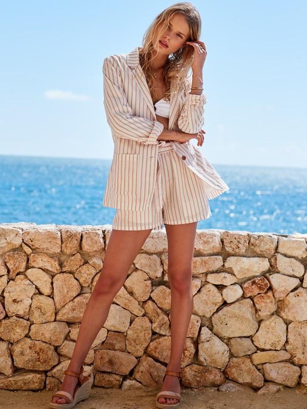 Day To Night - Striped Linen Blazer for Women  ERJJK03343