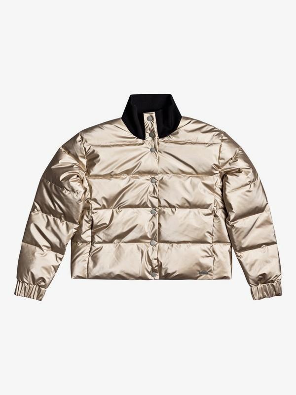 Cross Stepping - Waterproof Metallic Puffer Jacket for Women  ERJJK03398