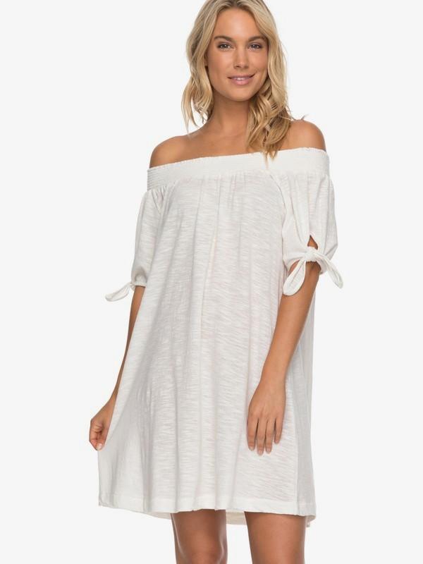 0 Bright Blue Sky - Vestido con Hombros Caídos para Mujer Blanco ERJKD03161 Roxy