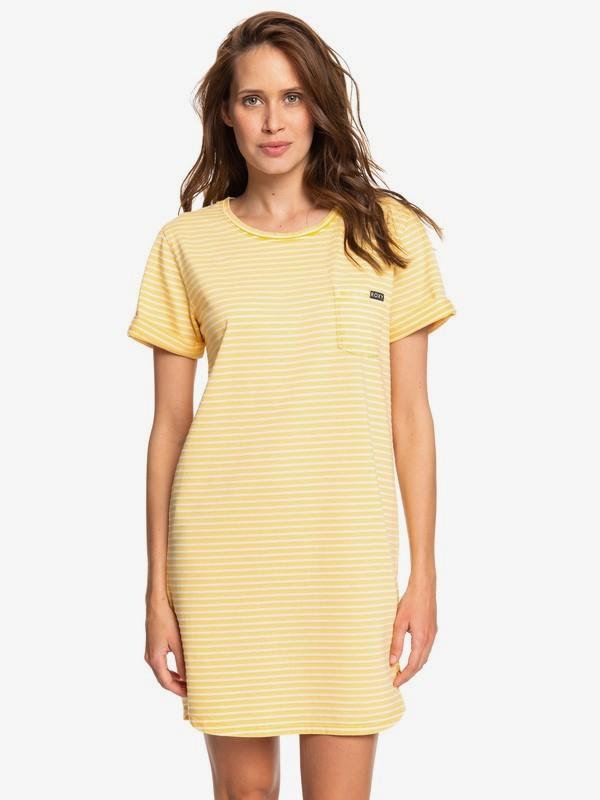 0 Walking Alone Short Sleeve T-Shirt Dress Yellow ERJKD03265 Roxy