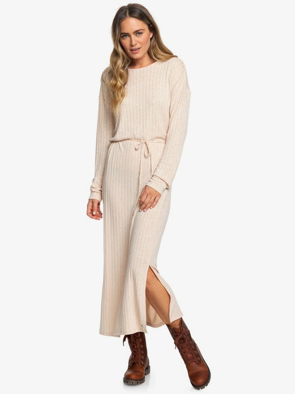 The Winter Dress - Long Sleeve Rib Knit Short Maxi Dress for Women  ERJKD03269