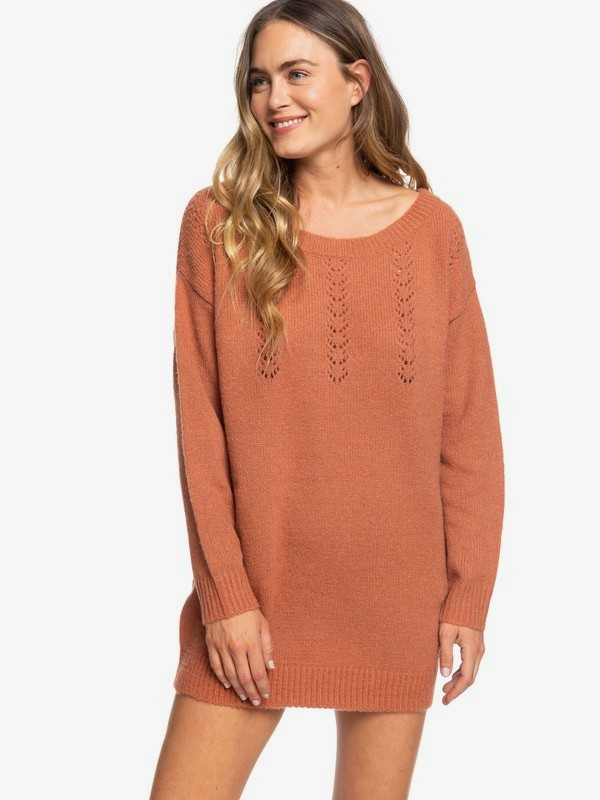 0 Sister The First Surf Oversized Jumper Dress Brown ERJKD03276 Roxy